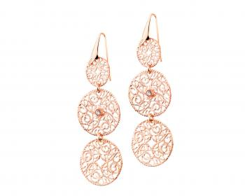 Gold plated bronze earrings with crystal