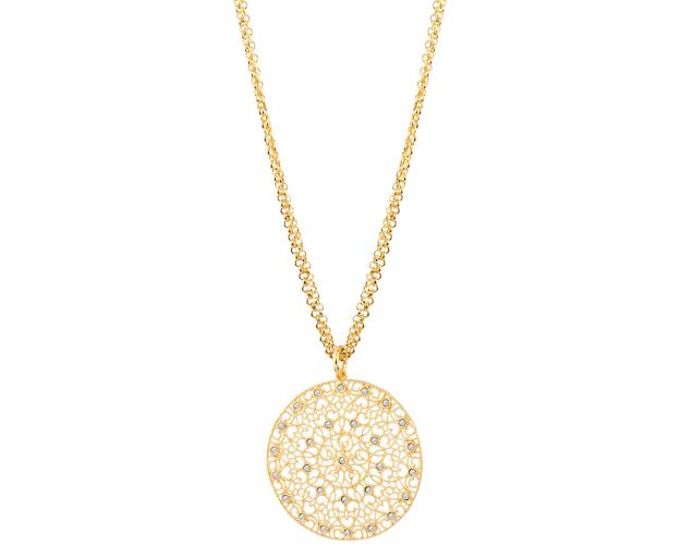 Gold plated bronze necklace with crystal