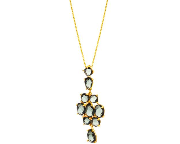 Gold plated brass pendant with glass