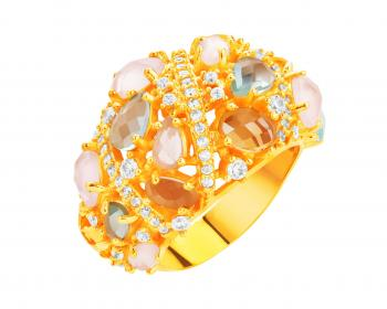 Gold plated bronze ring with glass and cubic zirconia