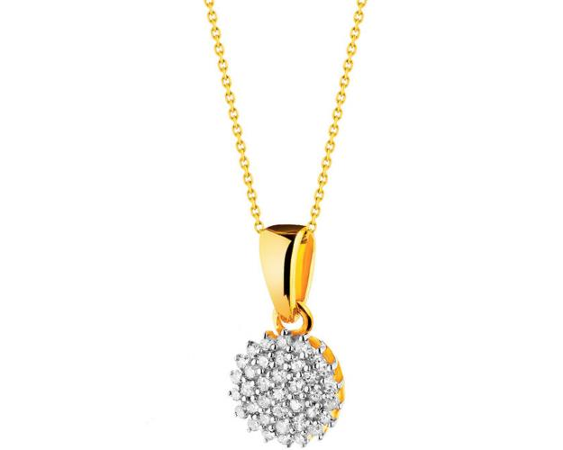 Yellow gold pendant with diamonds