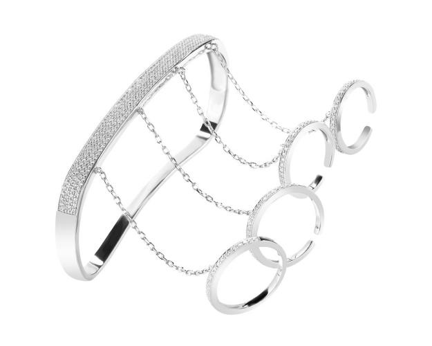 Silver left palm and fingers bangle, with cubic zirconia