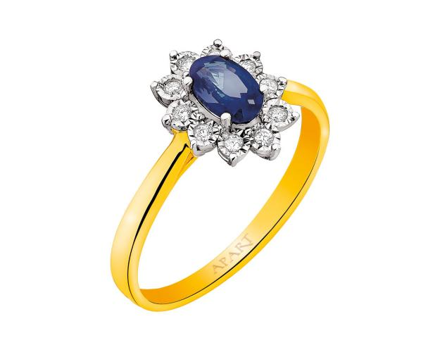 Yellow gold ring with diamonds and sapphire