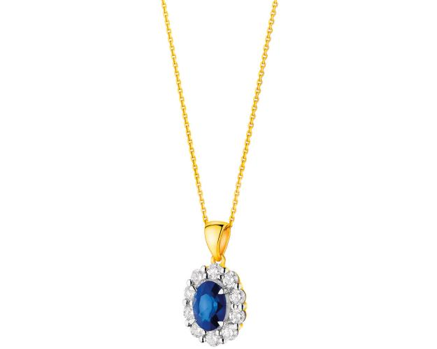 Yellow gold pendant with diamonds and sapphire