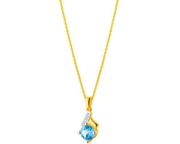 Yellow gold pendant with diamonds and topaz