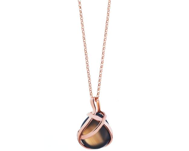 Gold plated bronze necklace with agate