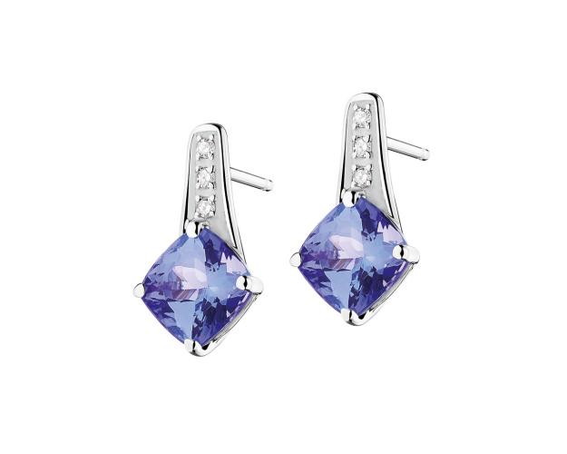 White gold earrings with diamonds and tanzanite