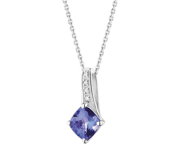 White gold pendant with diamonds and tanzanite