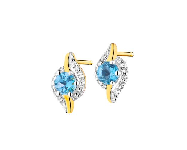 Yellow gold earrings with diamonds and topaz
