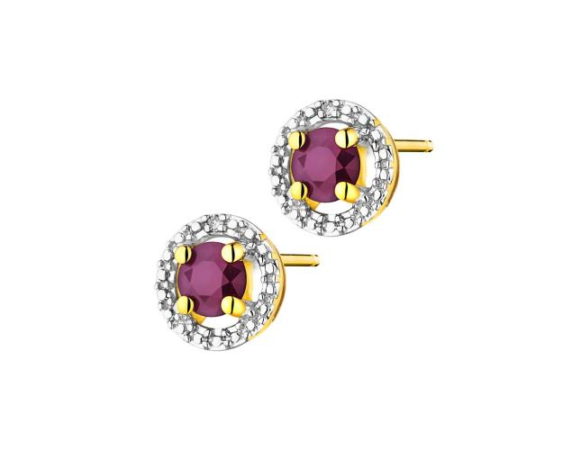 Yellow gold earrings with diamonds and ruby