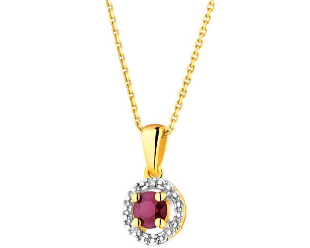 Yellow gold pendant with diamond and ruby