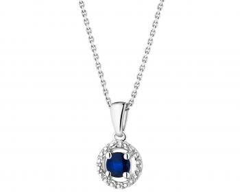 White gold pendant with diamond and sapphire