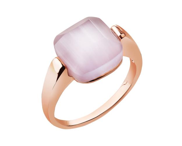 Gold plated brass ring with gemstone