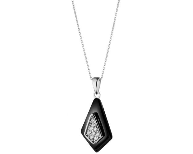 Silver pendant with ceramic and cubic zirconia