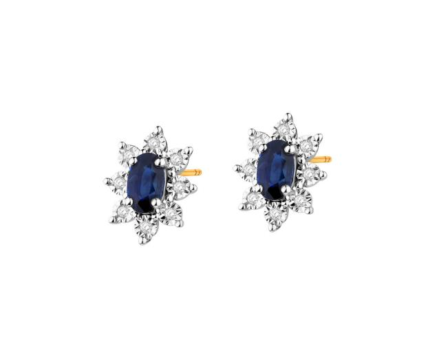 Yellow and white gold earrings with diamonds and sapphire
