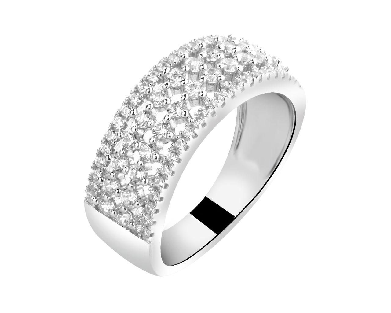 silver ring with cubic zirconia artelioni