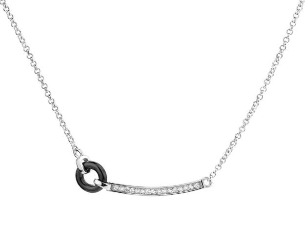 Silver necklace with ceramic and cubic zirconia