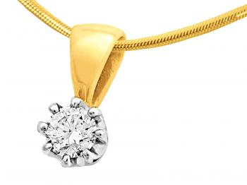 White and yellow gold pendant with brilliant