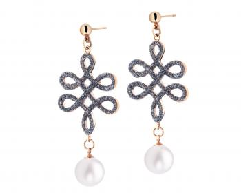 Stainless Steel & Mineral Powder Coating Earrings with Pearl