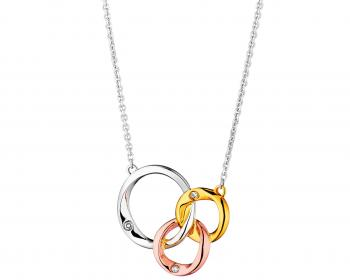 Three colour diamond necklace