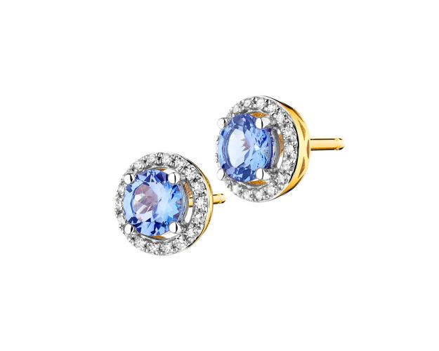 Yellow gold earrings with diamonds and tanzanite