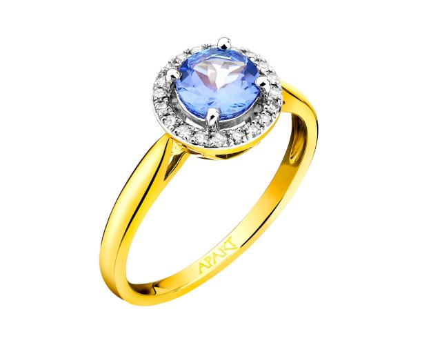 Yellow gold ring with diamonds and tanzanite
