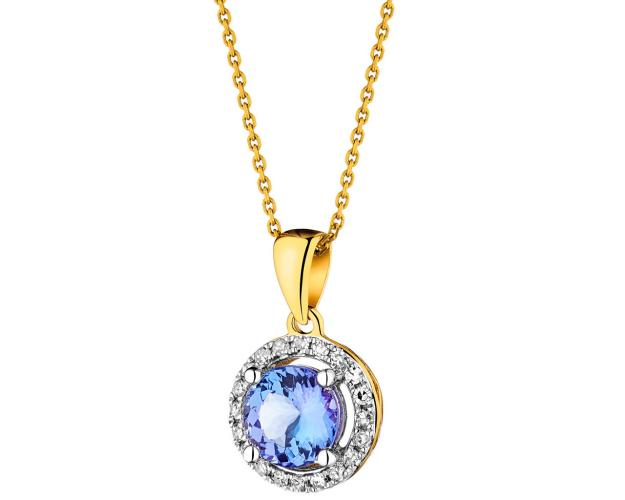 Yellow gold pendant with diamonds and tanzanite