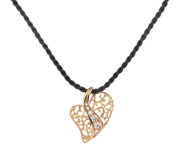 Brass necklace with cubic zirconia