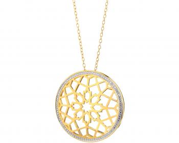 Gold plated bronze necklace with cubic zirconia