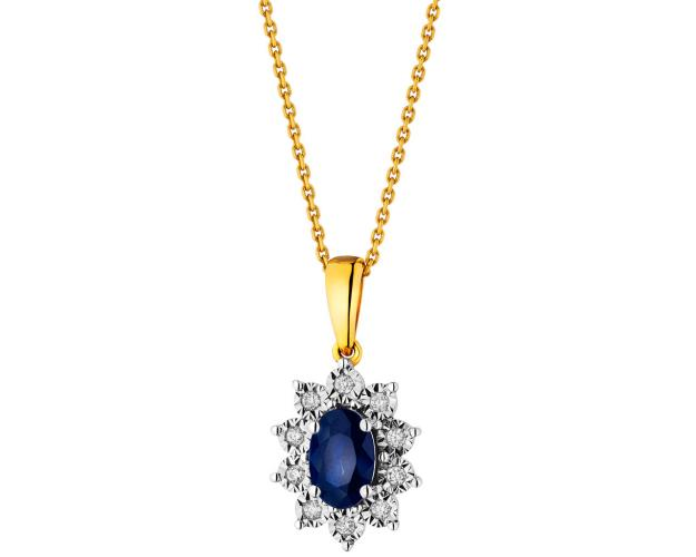 Yellow and white gold pendant with diamonds and sapphire