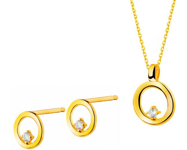 Yellow gold earrings and pendant - set