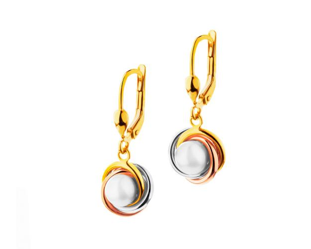 Gold three tone pearl earrings