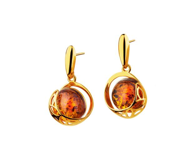 Gold plated silver earrings with amber