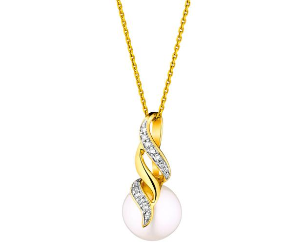 Yellow gold pearl and diamond pendant