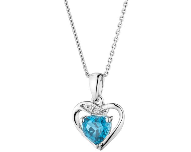 White gold blue topaz and diamond pendant