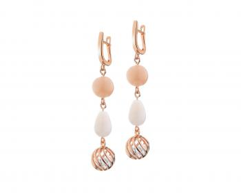 Gold plated brass earrings with moon stone, quartz and cubic zirconia