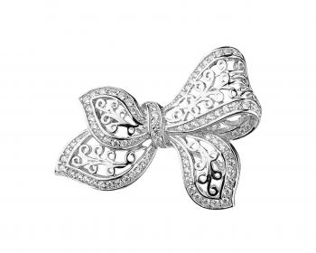 Silver brooch with cubic zirconia