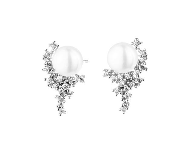 Silver earrings with pearl and cubic zirconia