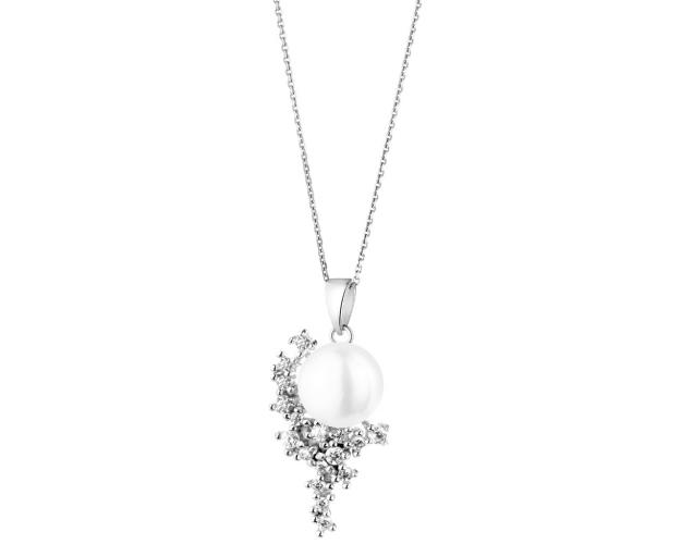 Silver pendant with pearl and cubic zirconia