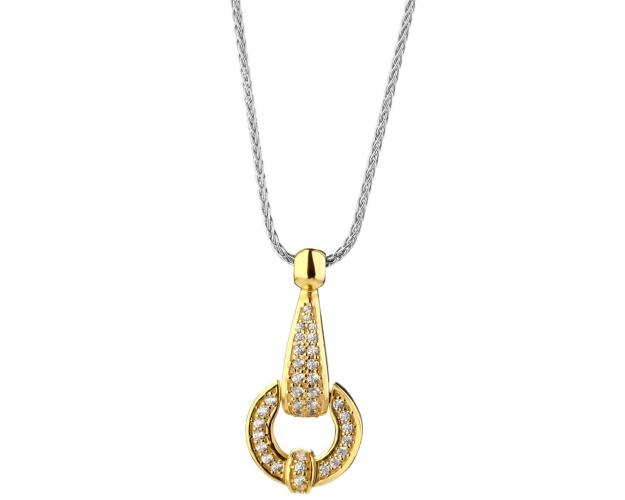 Gold plated silver necklace with cubic zirconia