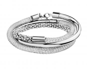 Stainless steel bangle with crystals