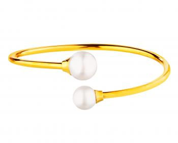 Stainless steel pearl bangle