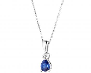 White gold diamond and synthetic sapphire pendant
