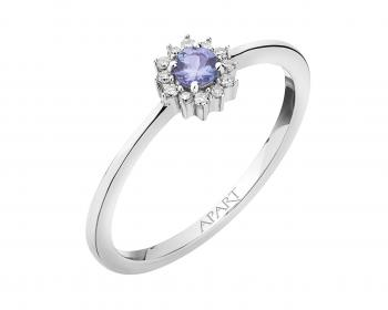White gold diamond and tanzanite ring