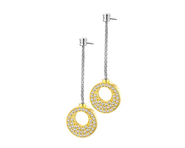 Gold plated silver earrings, with cubic zirconia