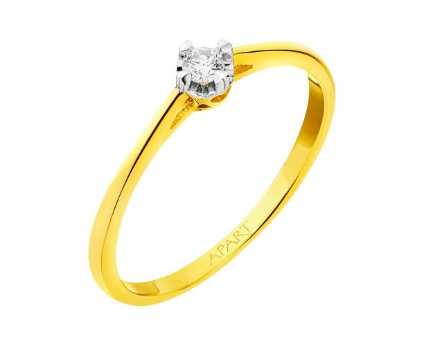 Yellow gold brilliant cut diamond ring