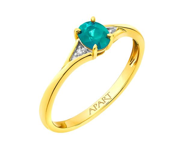 Yellow gold diamond & emerald ring