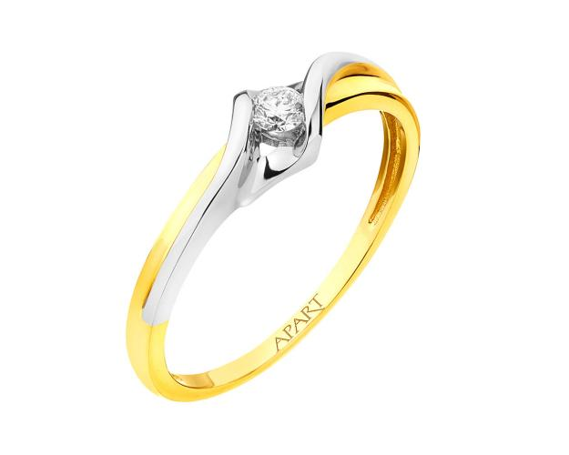 Yellow gold brilliant diamond ring
