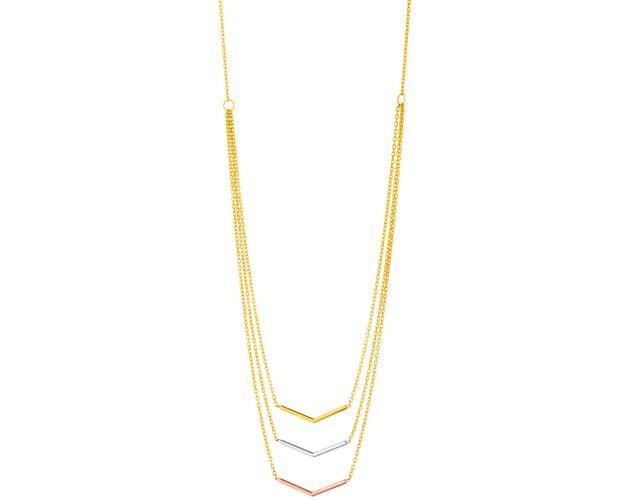 Three tone gold necklace