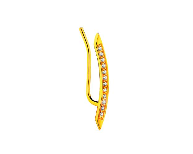 8ct Yellow Gold Ear Pin with Cubic Zirconia